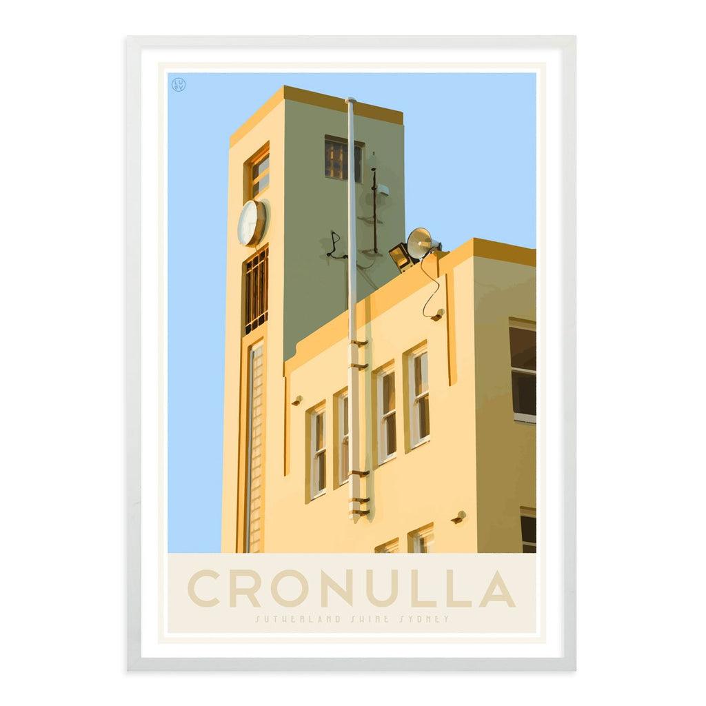 Cronulla Beach vintage travel style white framed print, designed by places we luv