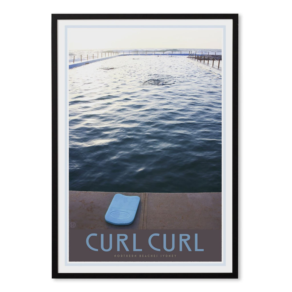 Curl curl pool black framed print. Vintage travel style by places we luv