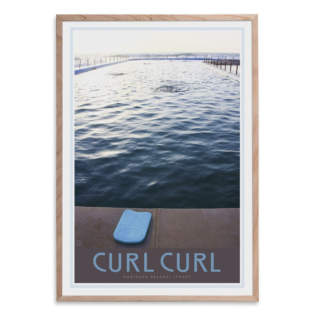 Curl curl pool oak framed print. Vintage travel style by places we luv