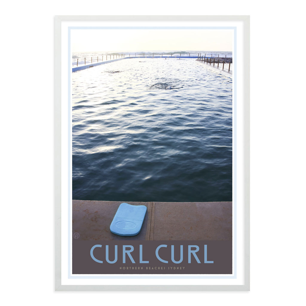 Curl curl pool white framed print. Vintage travel style by places we luv
