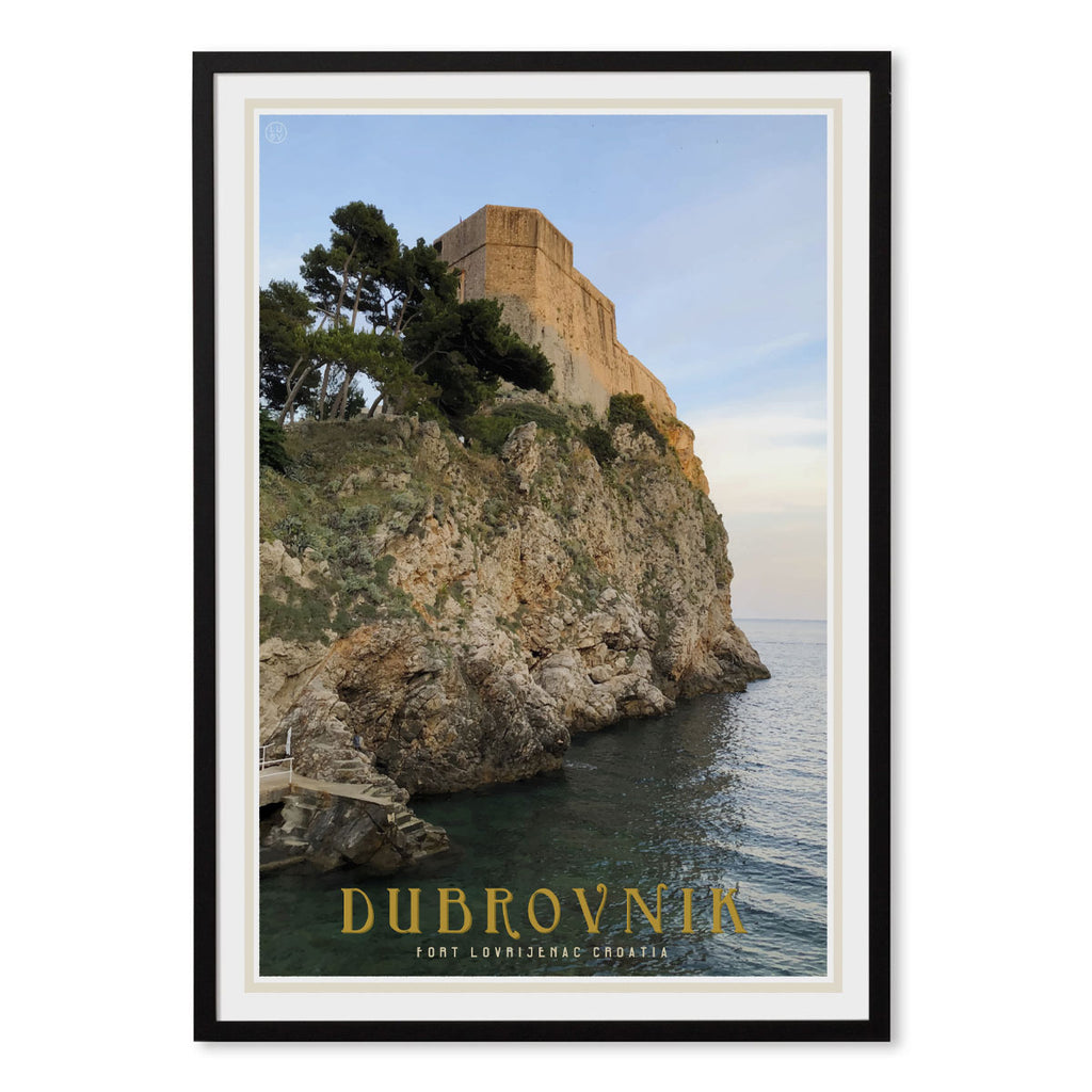 Dubrovnik vintage travel style black framed poster by places we luv