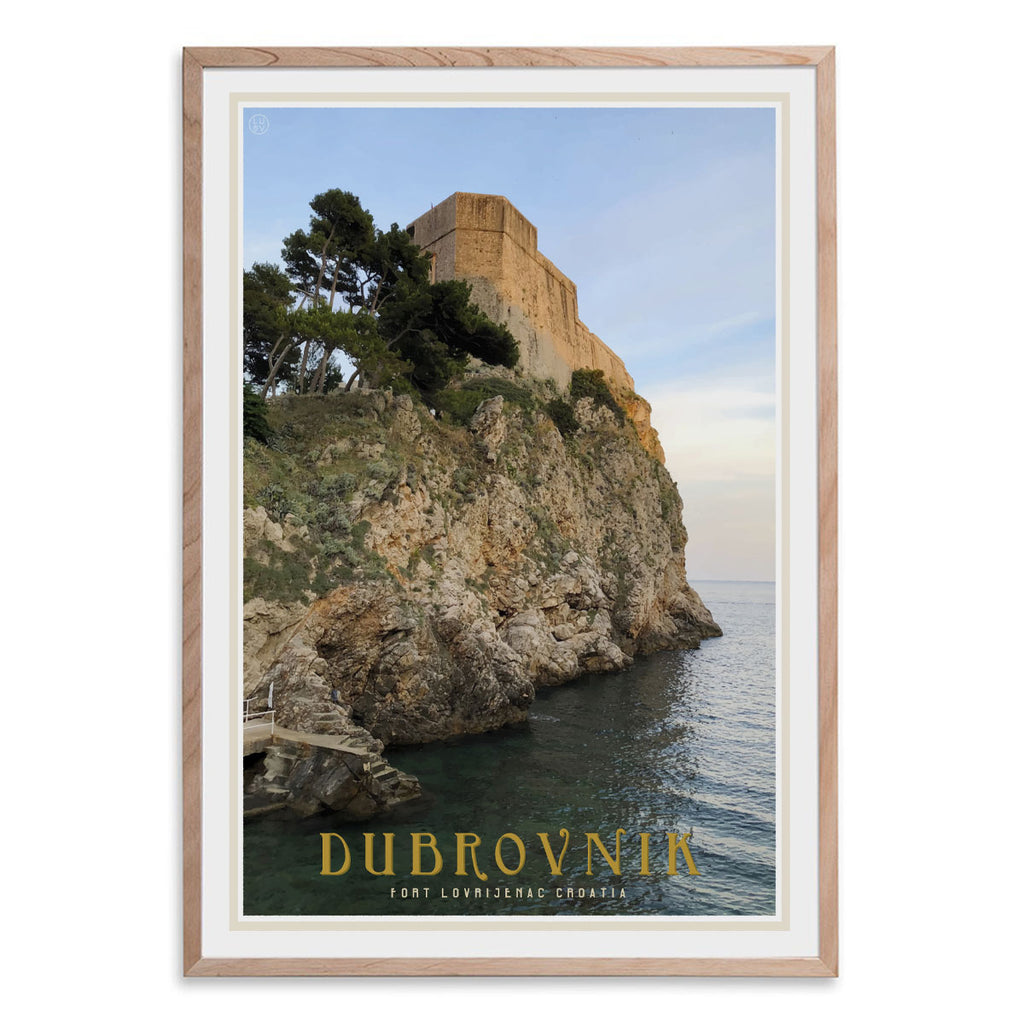 Dubrovnik vintage travel style oak framed poster by places we luv