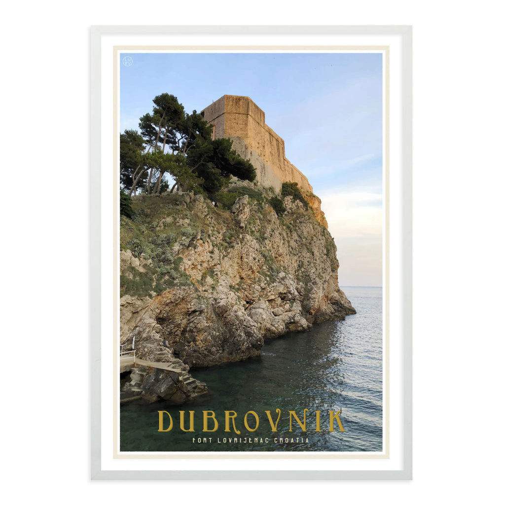 Dubrovnik vintage travel style white framed poster by places we luv
