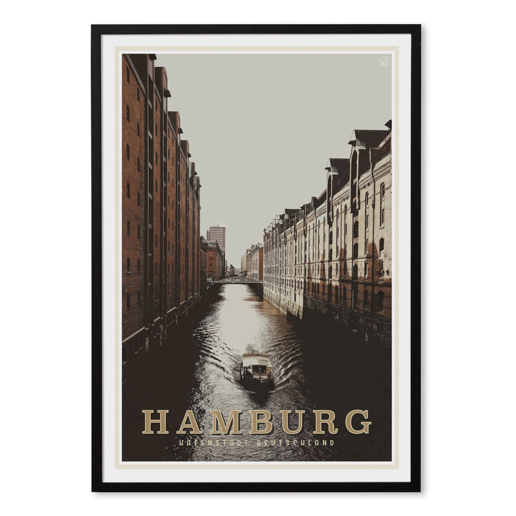 Hamburg vintage travel style black framed print by places we luv