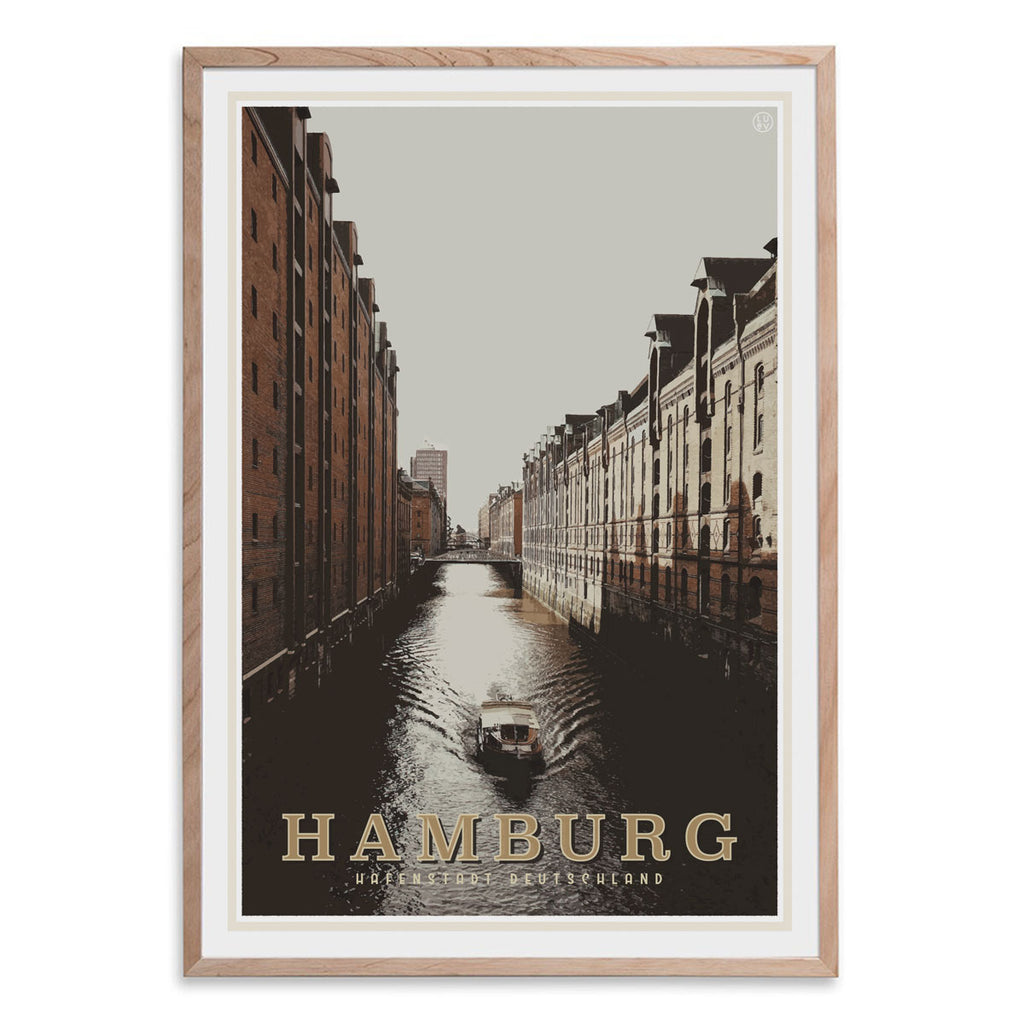 Hamburg vintage travel style oak framed print by places we luv