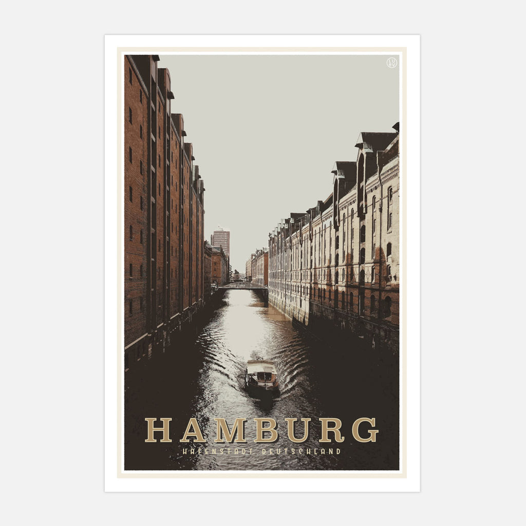 Hamburg vintage travel style poster by places we luv