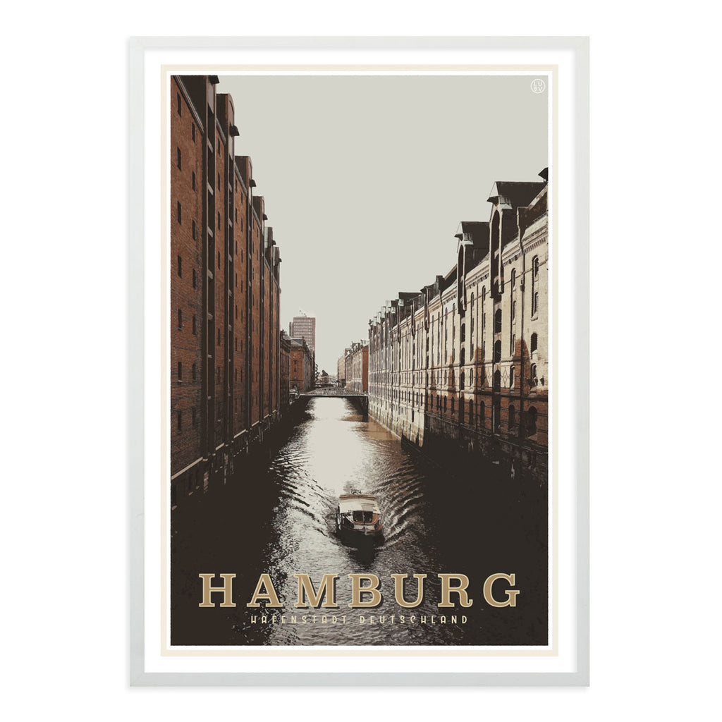 Hamburg vintage travel style white framed poster by places we luv