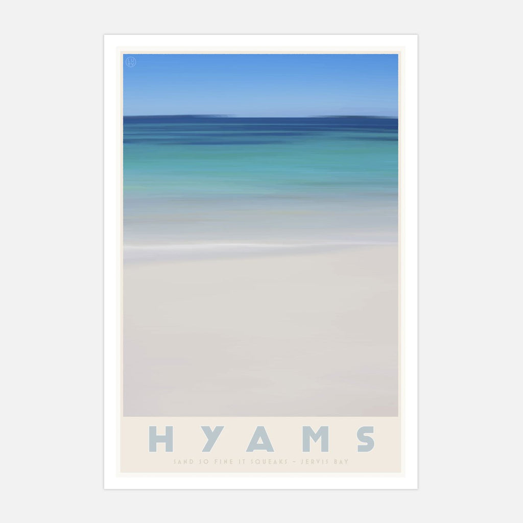 Hyams Beach poster Vintage travel style. original design by places we luv