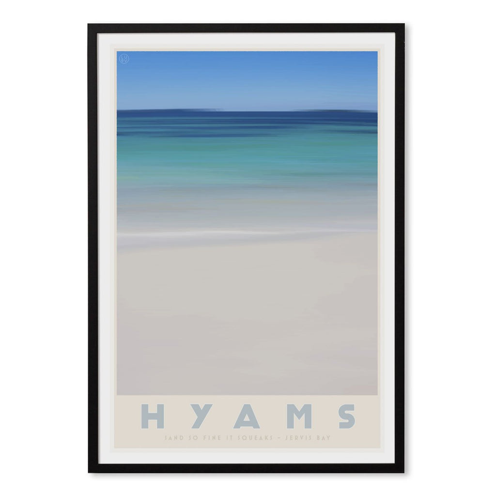 Hyams Beach black framed print. Vintage travel style. original design by places we luv