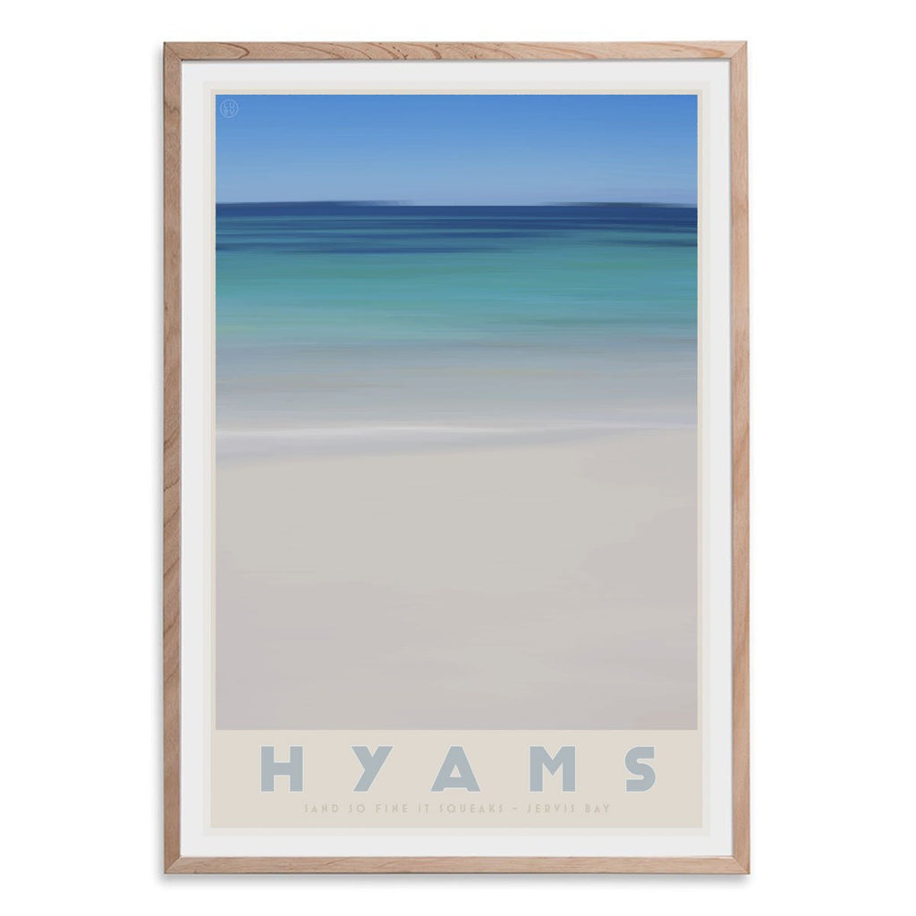 Hyams Beach raw wood framed print. Vintage travel style. original design by places we luv
