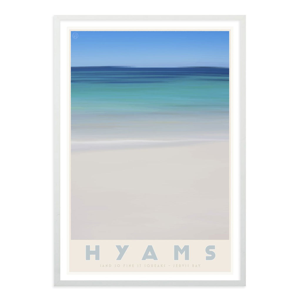 Hyams Beach white framed print. Vintage travel style. original design by places we luv