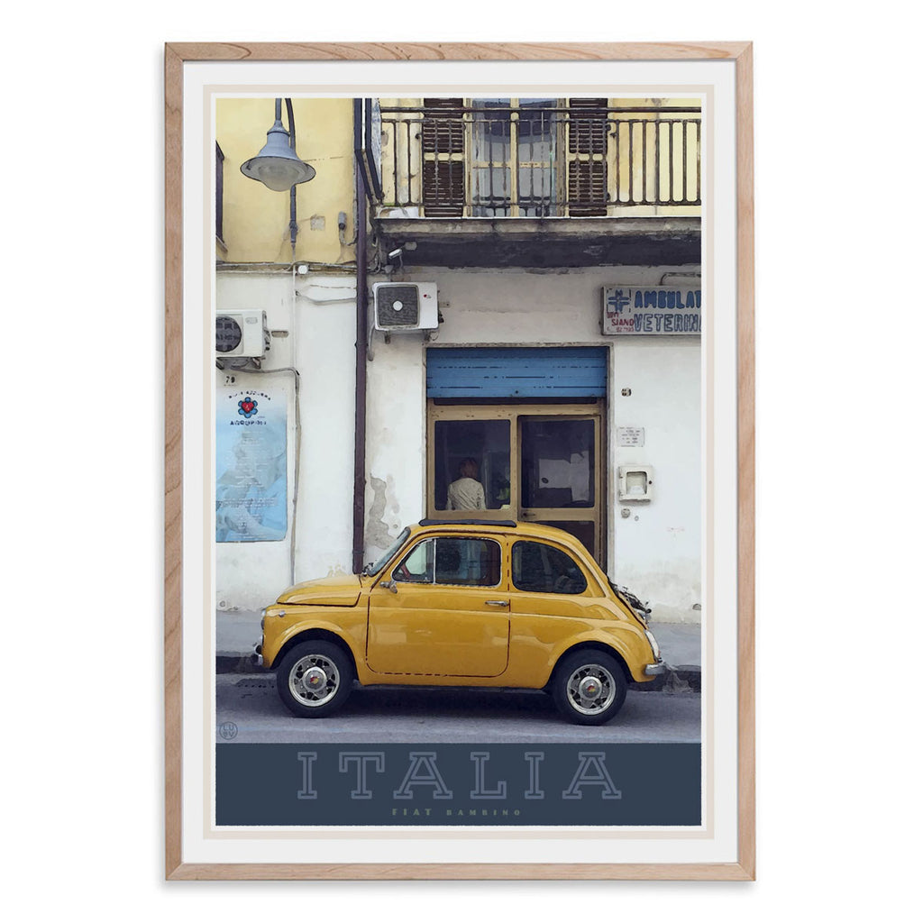 Italian bambino travel style oak framed poster - places we luv