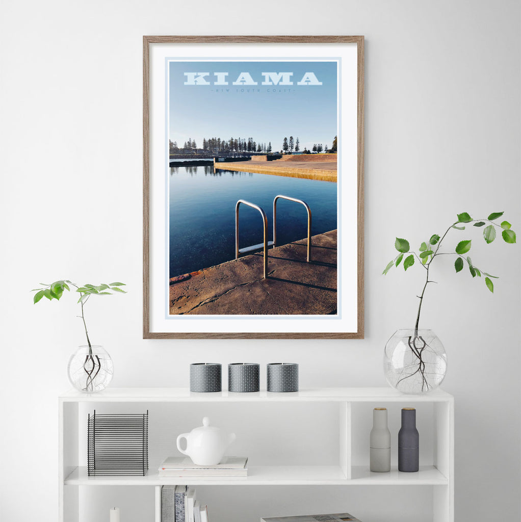 Kiama Pool Print framed in raw timber. Vintage travel style poster by places we love