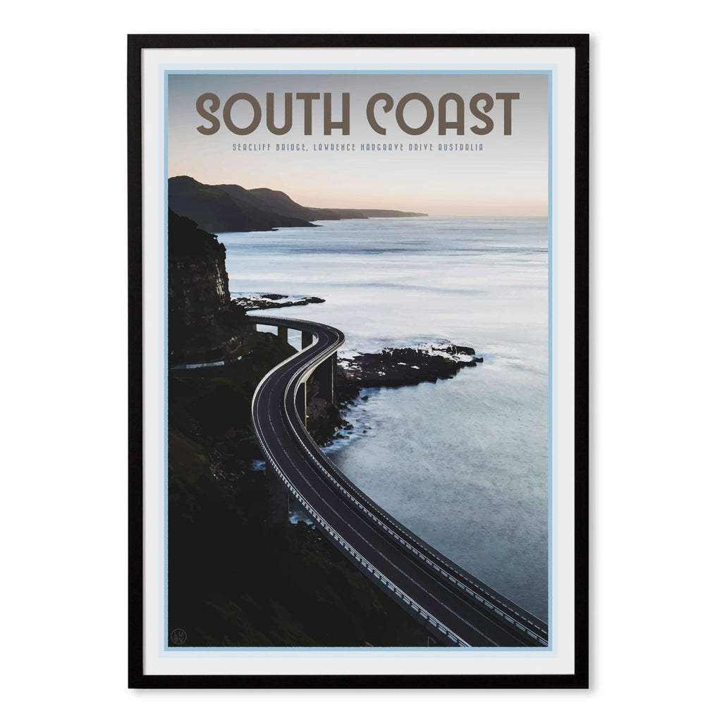 South coast seacliff bridge black framed art print by places we luv