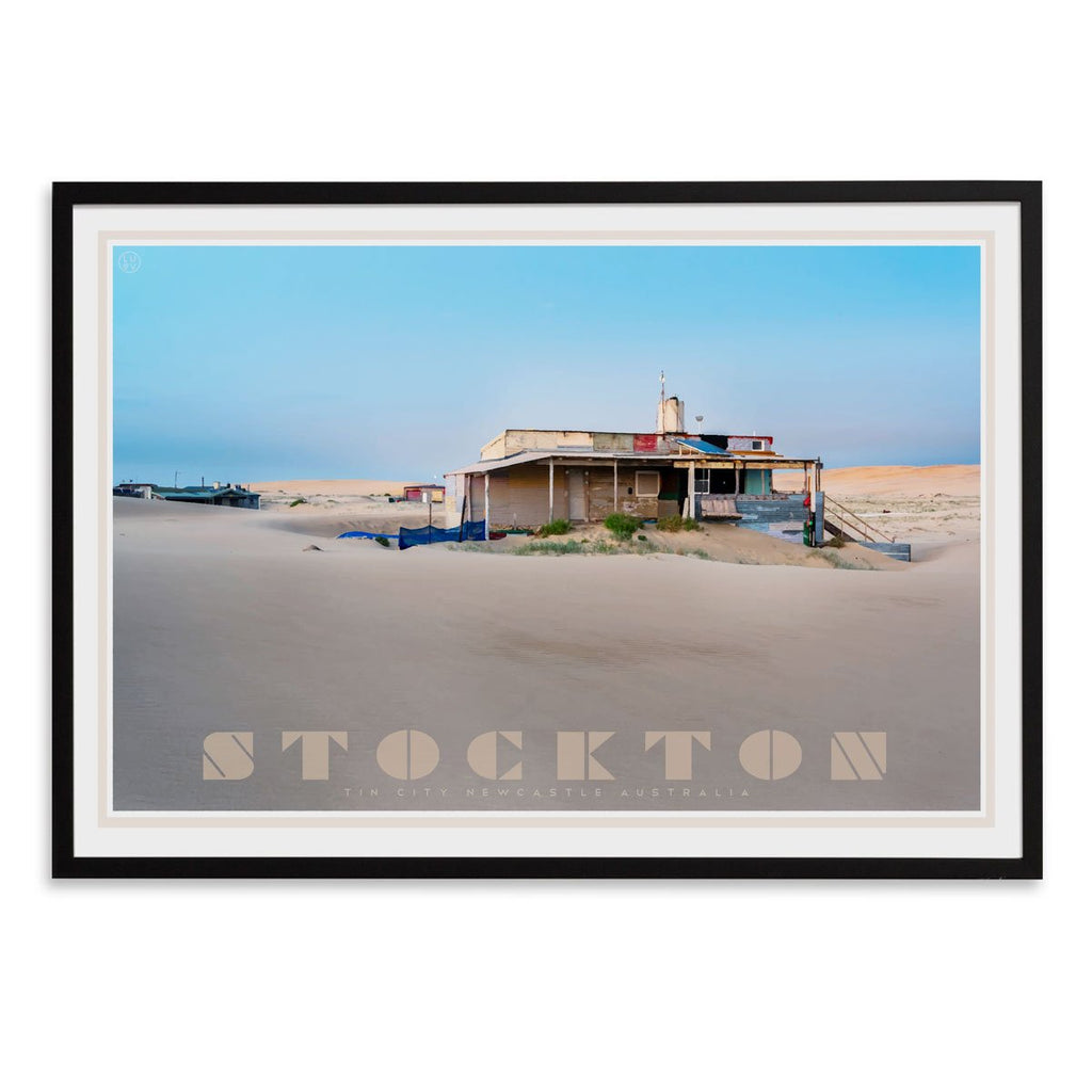 Stockton- tin city - vintage travel style black framed print by places we luv