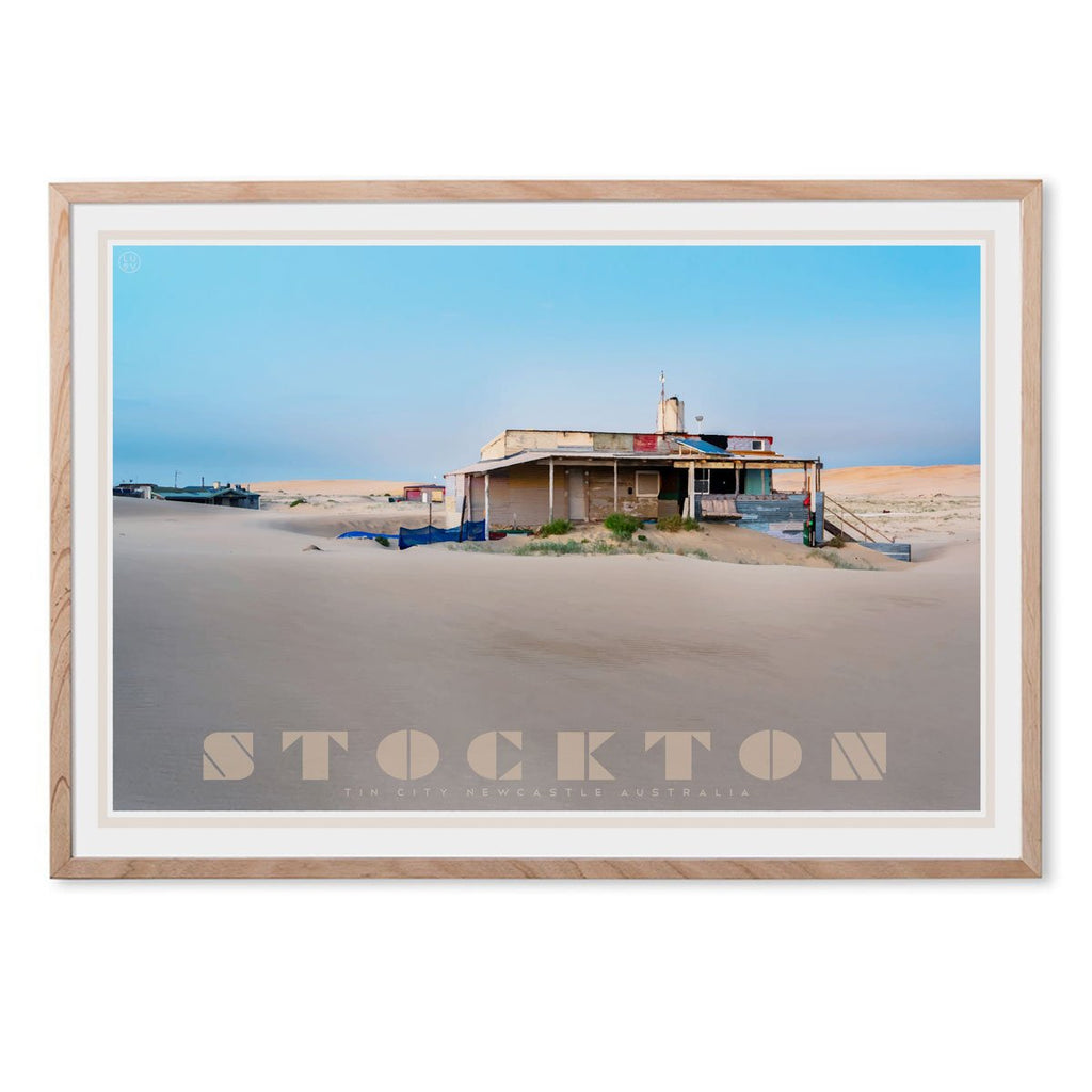 Stockton- tin city - vintage travel style oak framed print by places we luv