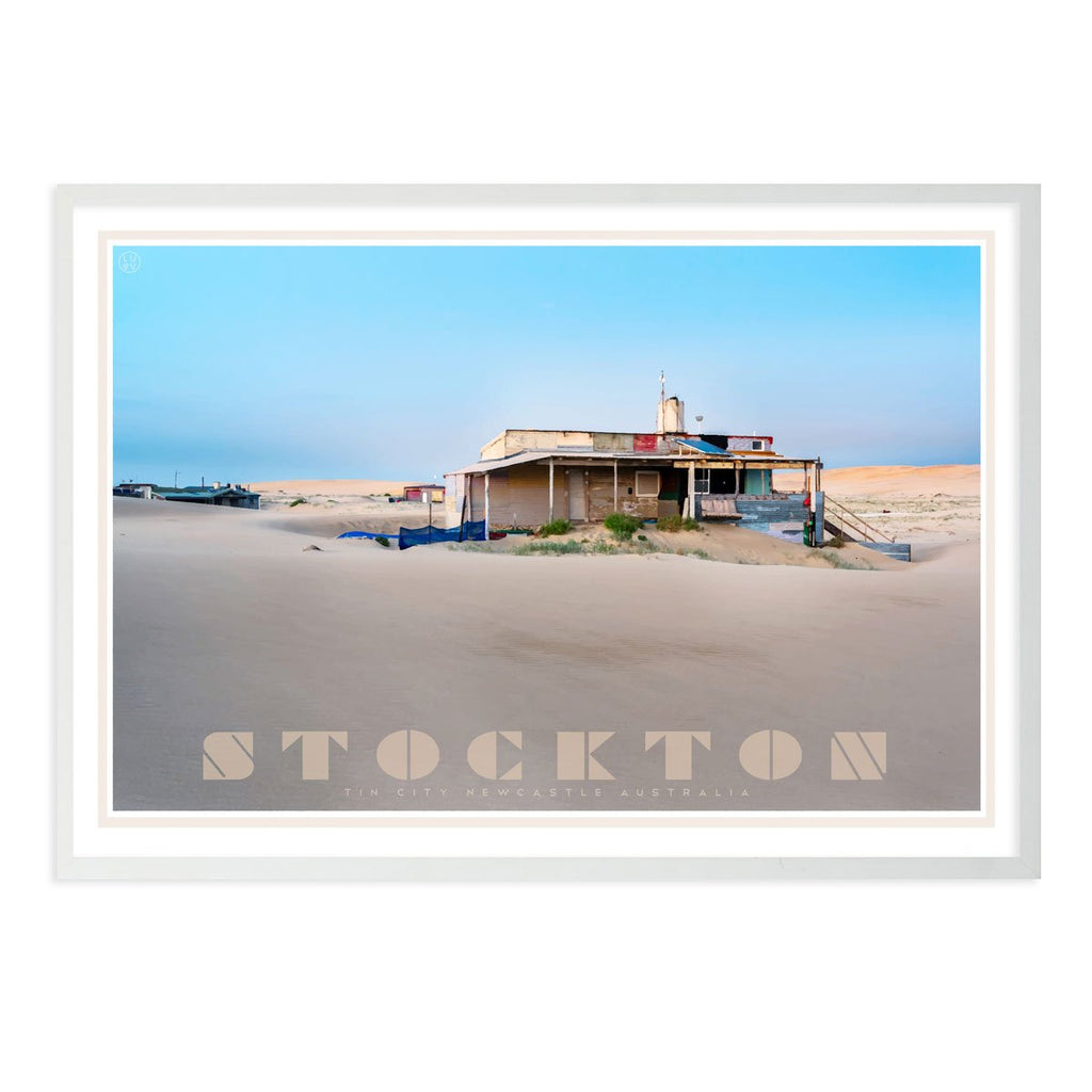 Stockton- tin city - vintage travel style white framed print by places we luv