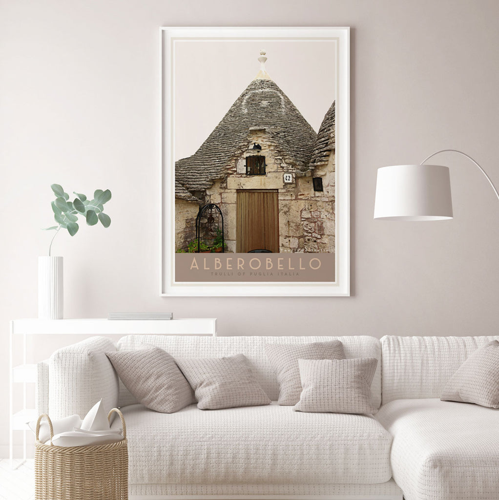 Framed travel print of Alberobello Italy. Original wall art from Places We Luv