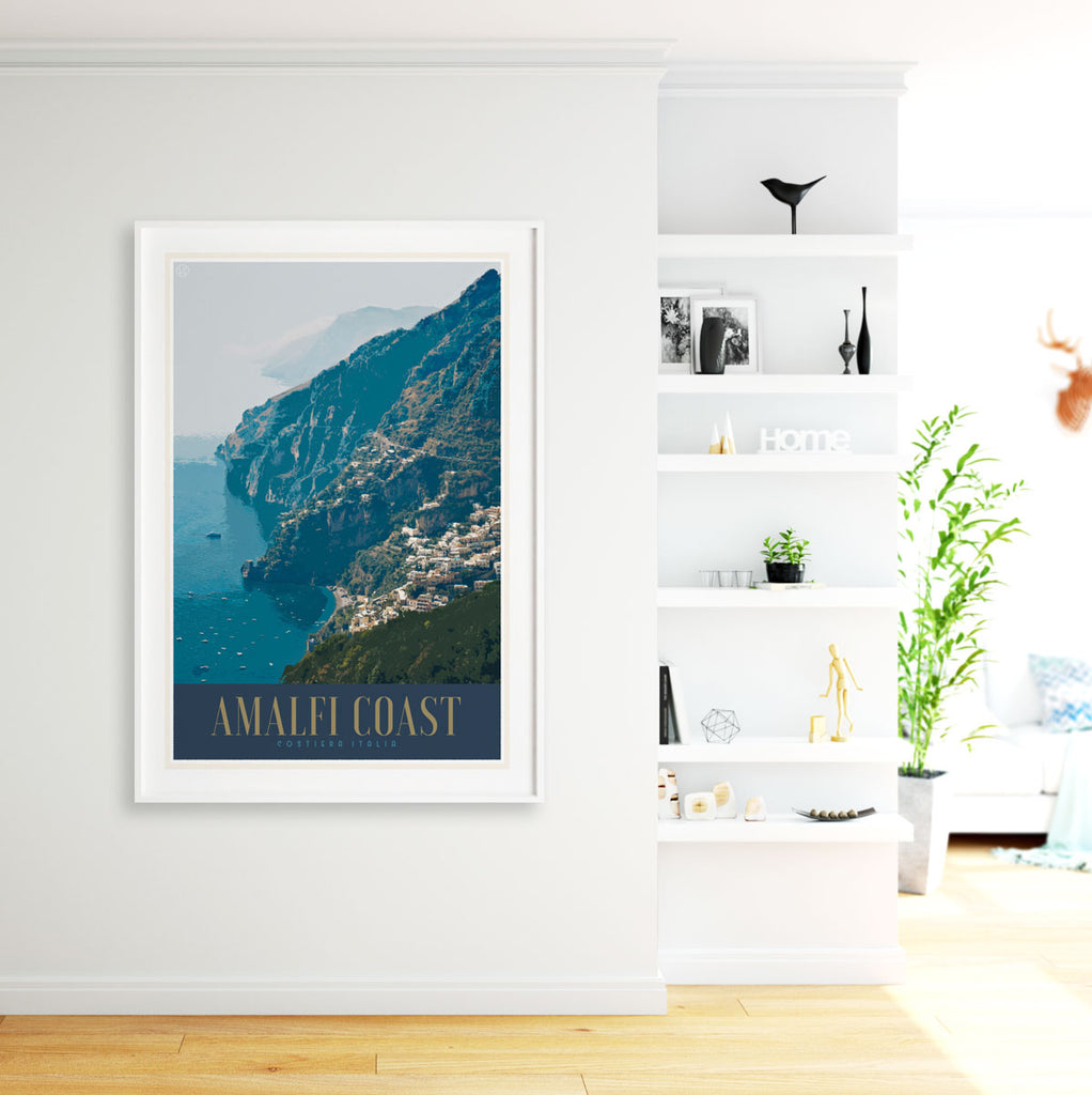 Amalfi Coast Italy vintage travel style white framed poster by places we luv