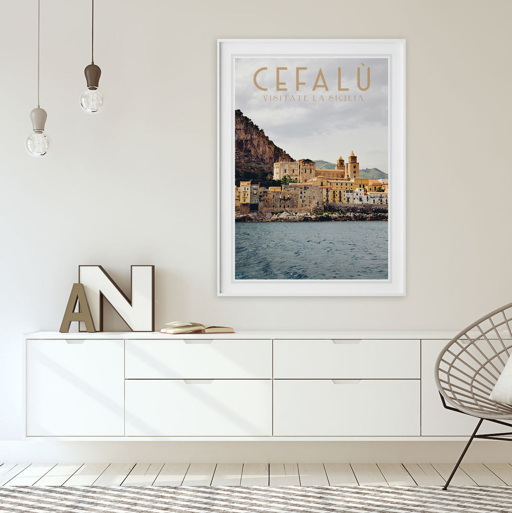 Cefalu Sicily, vintage travel style poster by places we luv