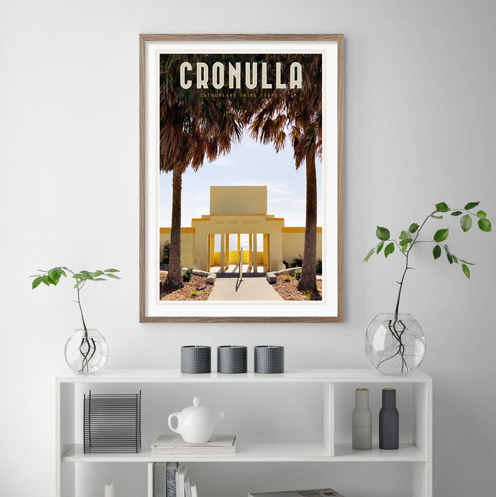 Cronulla Oak Park vintage travel poster by Placesweluv
