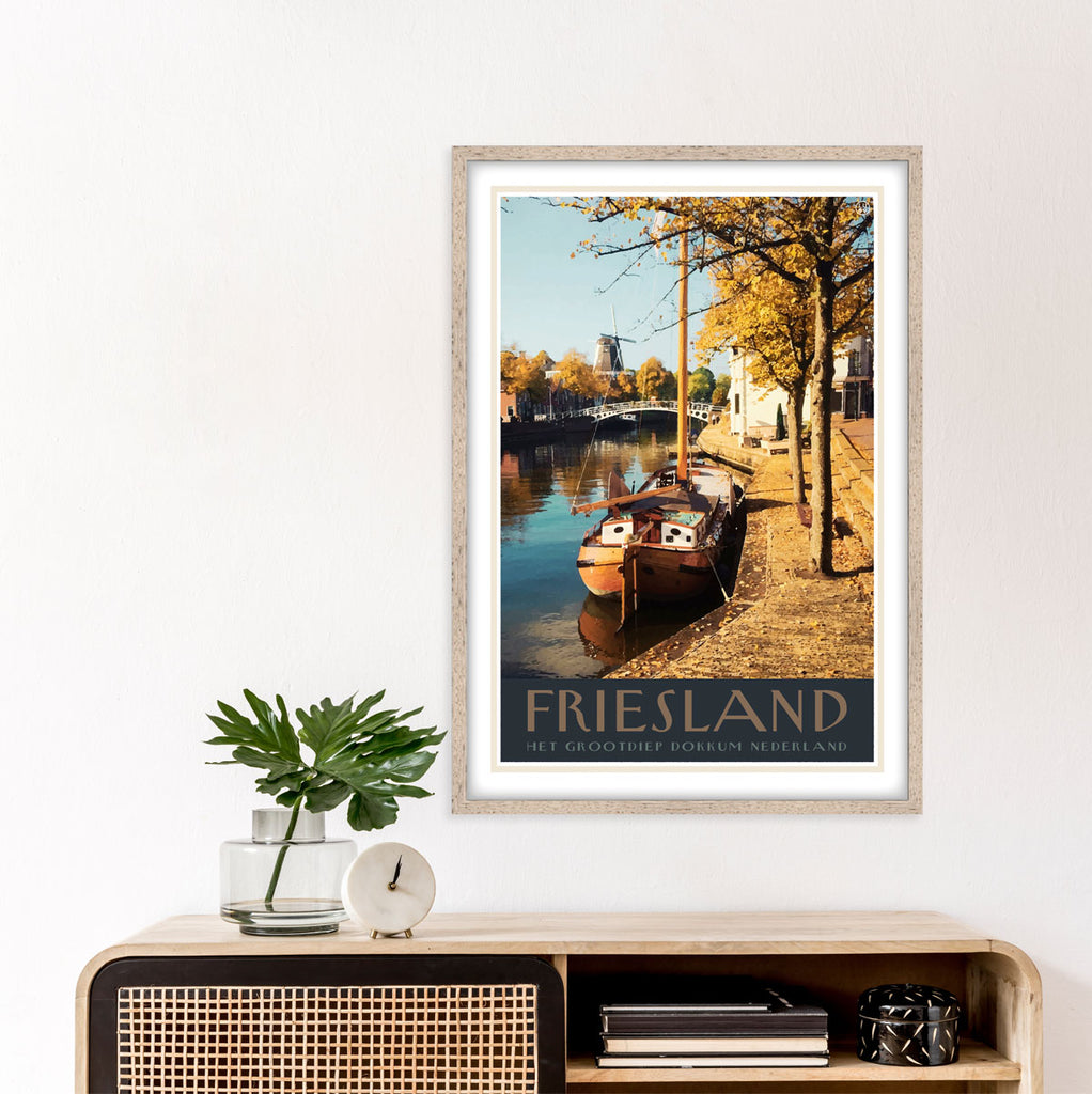 Friesland vintage travel style framed poster by places we luv