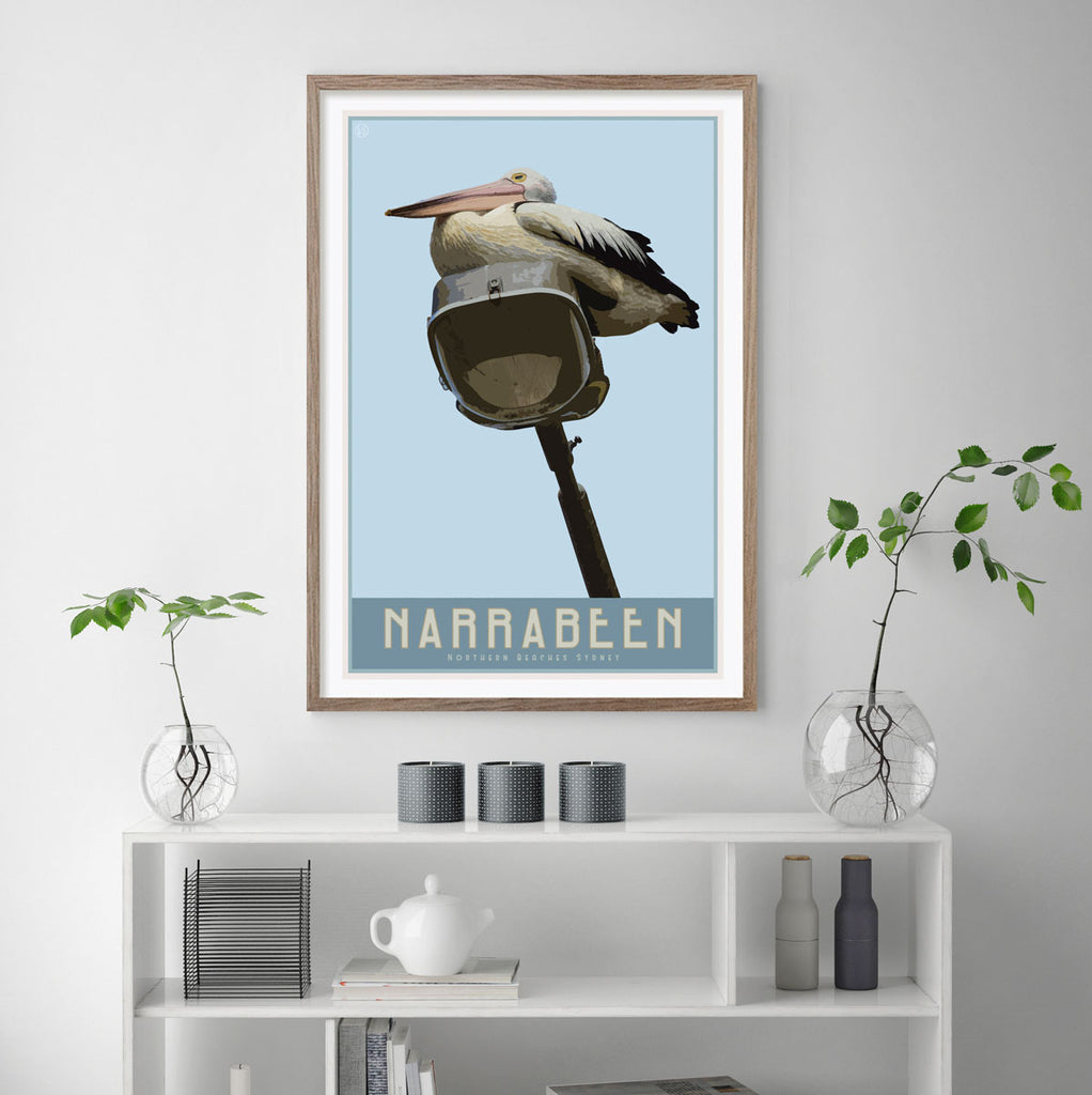 Narrabeen vintage travel style framed poster by places we luv