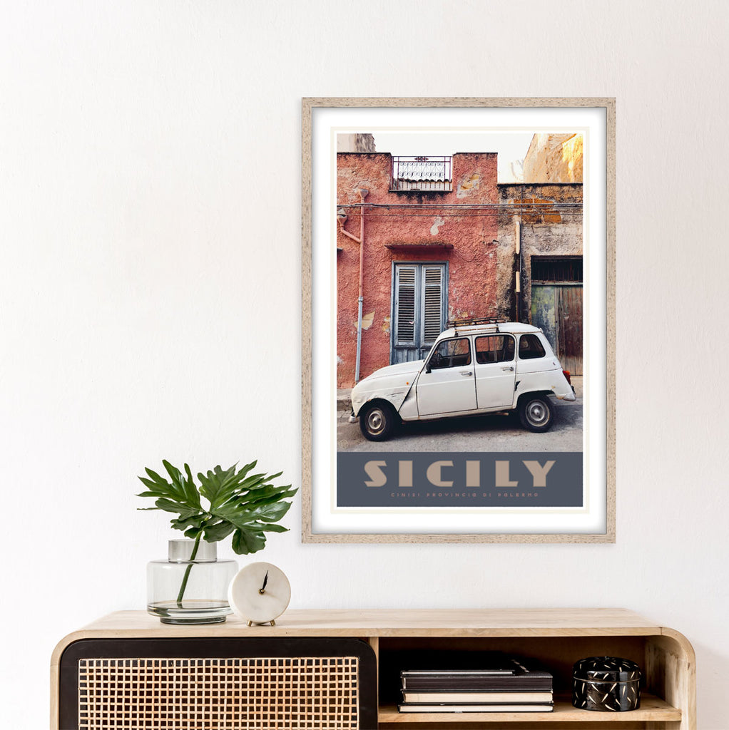 Sicily vintage travel poster by Places We Luv