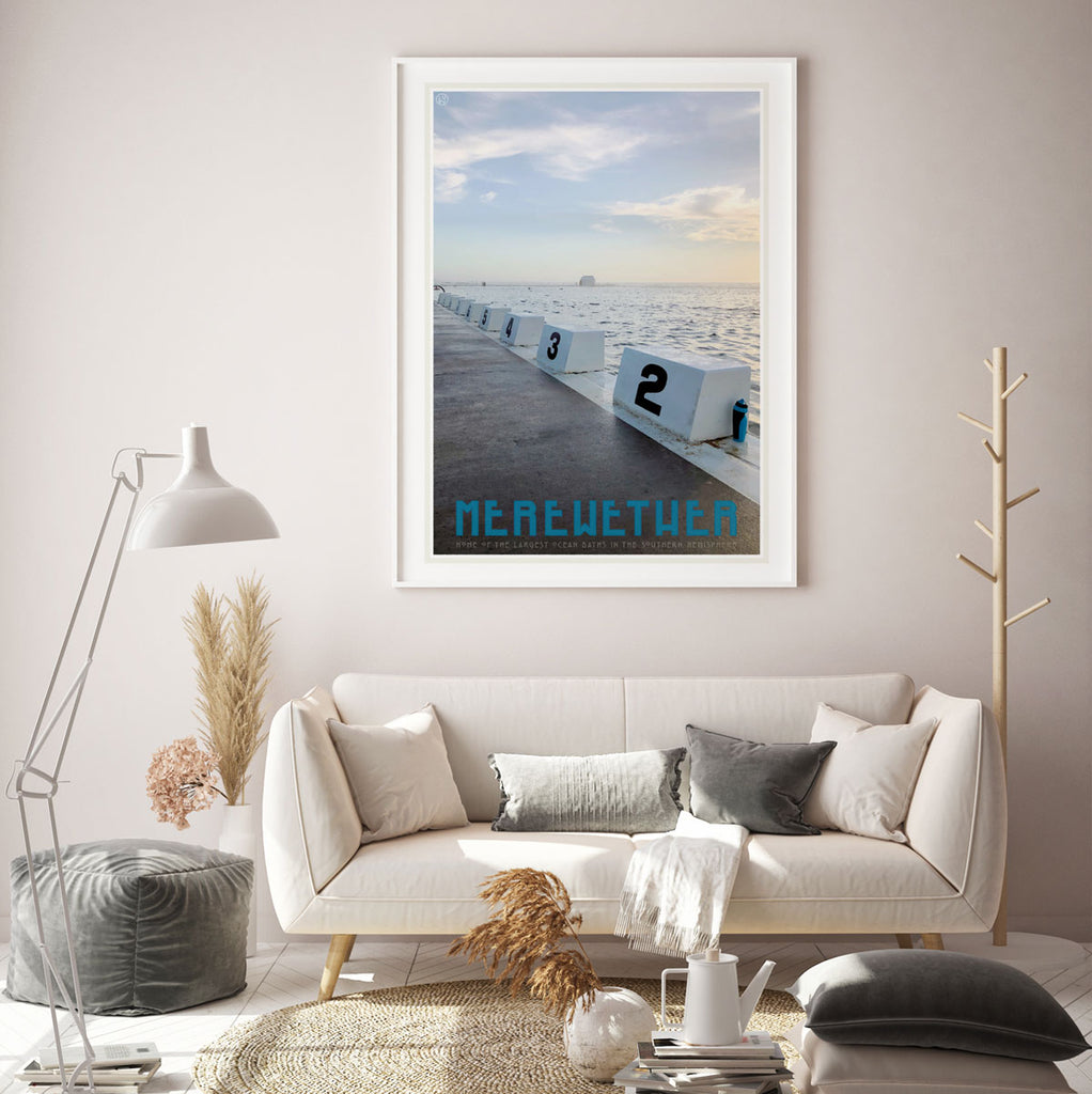 Merewether Pool vintage travel poster by places we luv