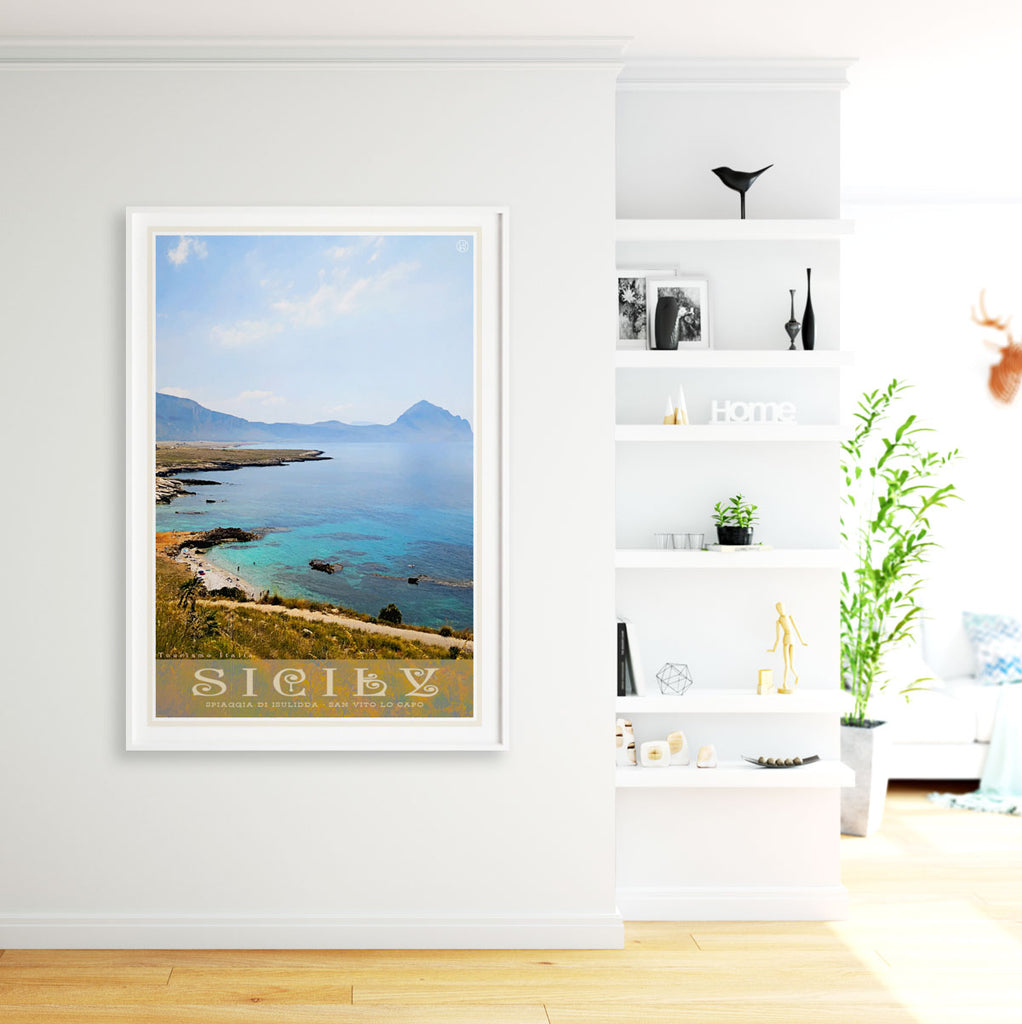 Sicily vintage travel framed print by Places We Luv