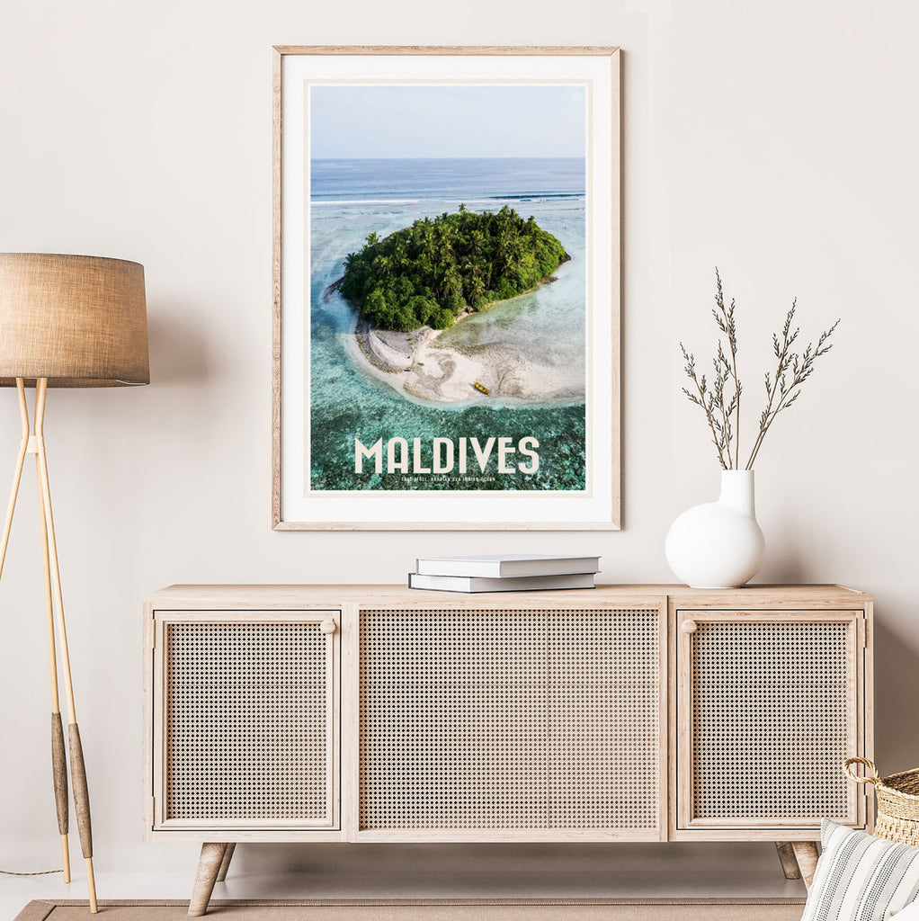 Maldives travel vintage style framed print by places we luv