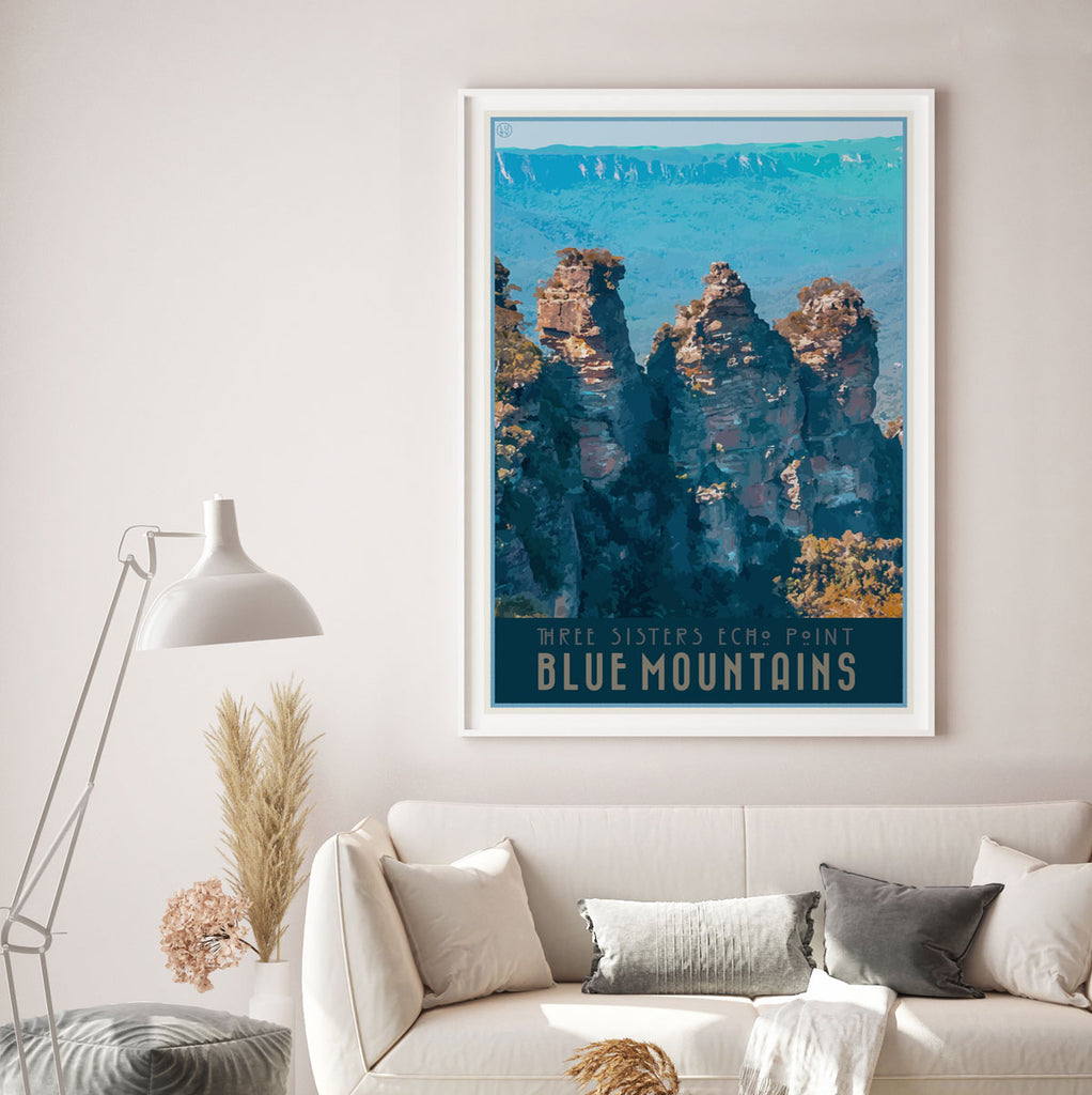 Blue Mountains Echo Point vintage travel style framed art poster by Places We Luv