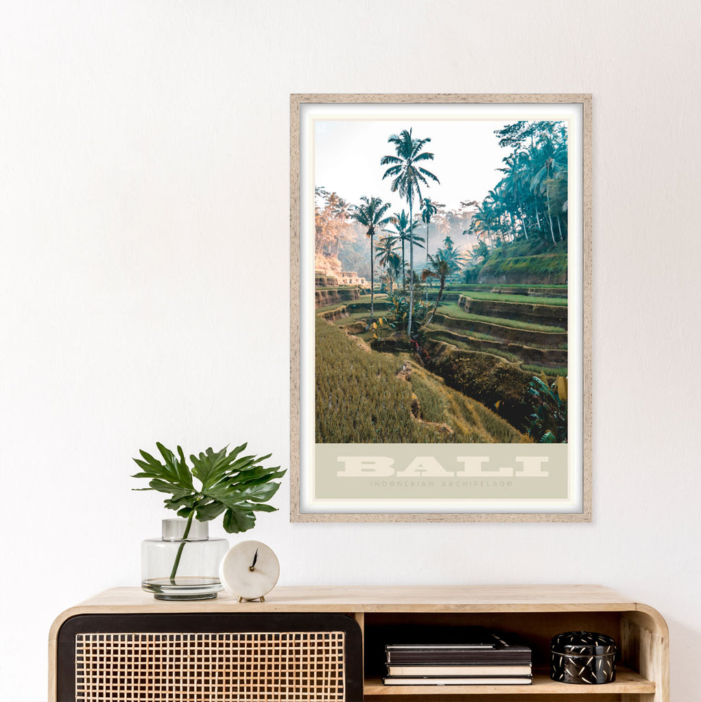 Bali vintage travel style framed art print by Places We Luv