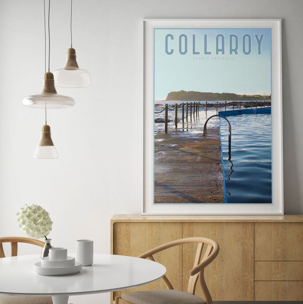 Collaroy Pool Poster vintage travel style by Places we Luv