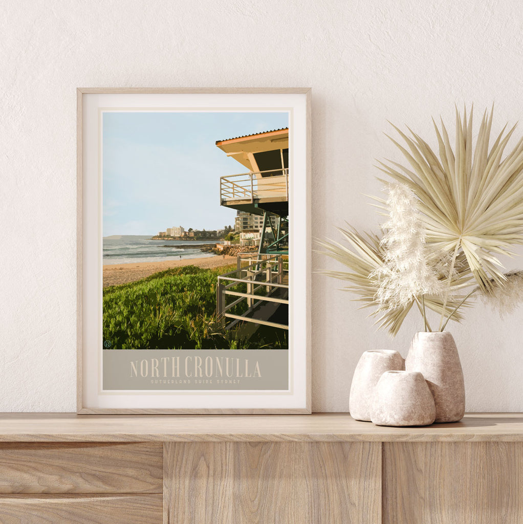 Cronulla North framed travel print - original design by Places We Luv