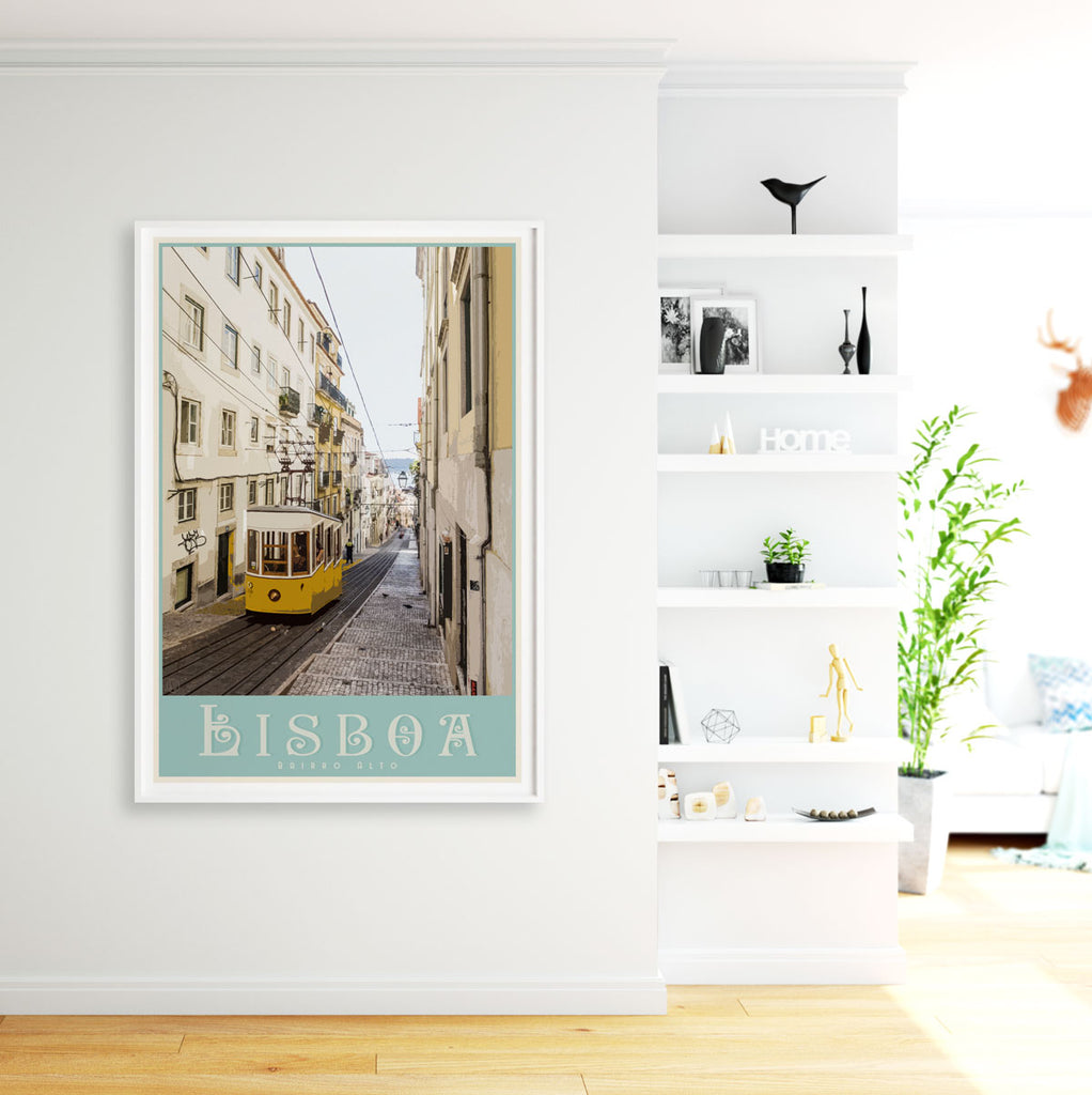 Lisbon travel print- framed. Vintage travel style poster by places we luv