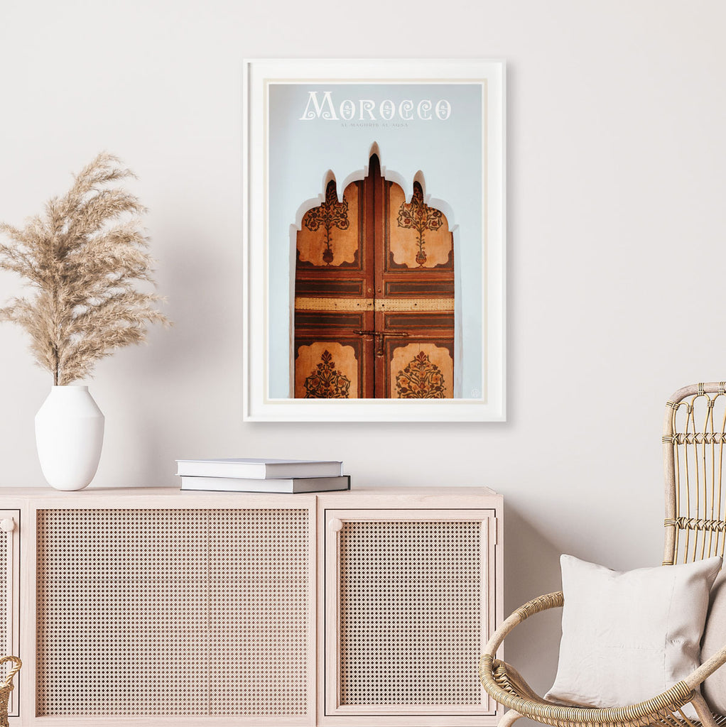 Morocco vintage travel style framed print by places we luv