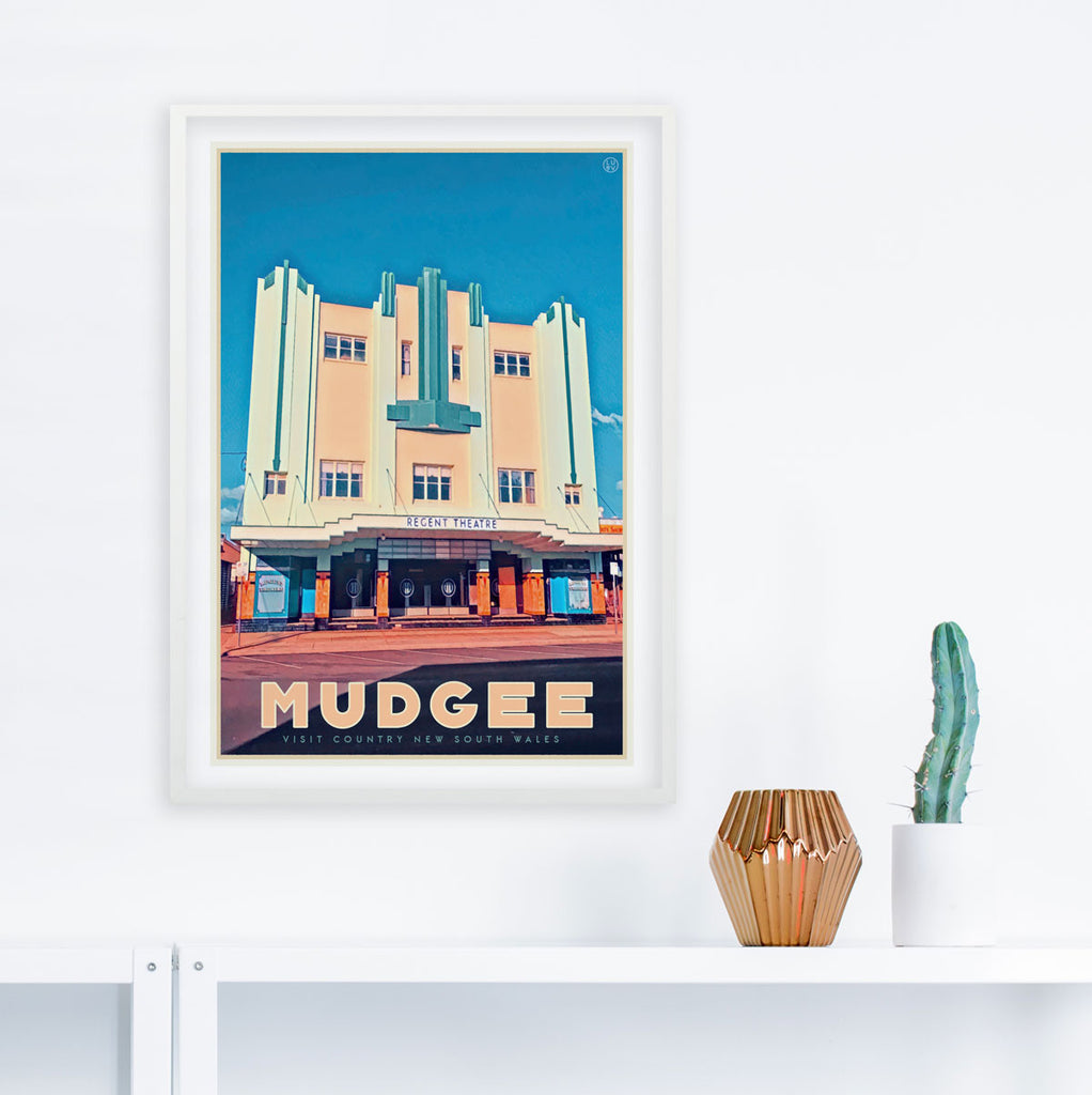 Mudgee vintage travel framed poster central west by places we luv