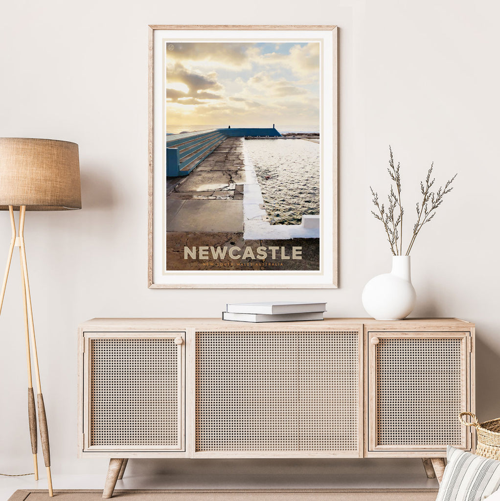 Newcastle NSW poster vintage travel style designed by Places We Luv