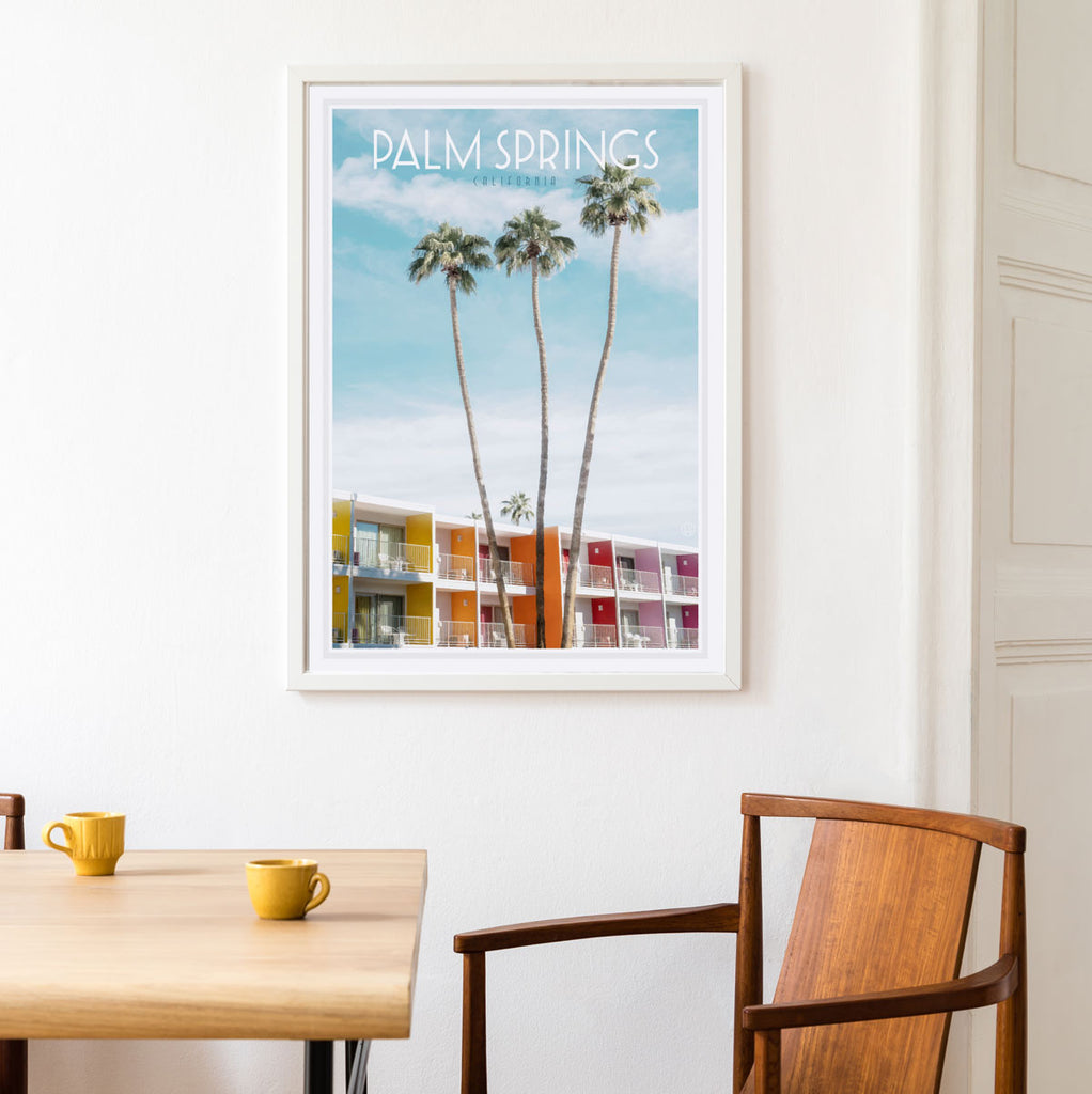 Palm Springs vintage travel framed print by places we luv