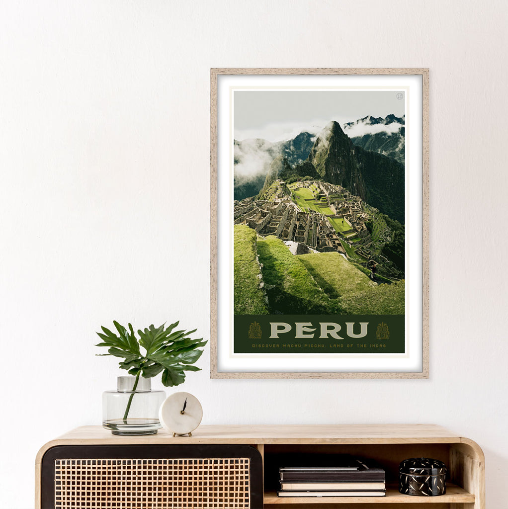 Peru vintage style travel poster by places we luv