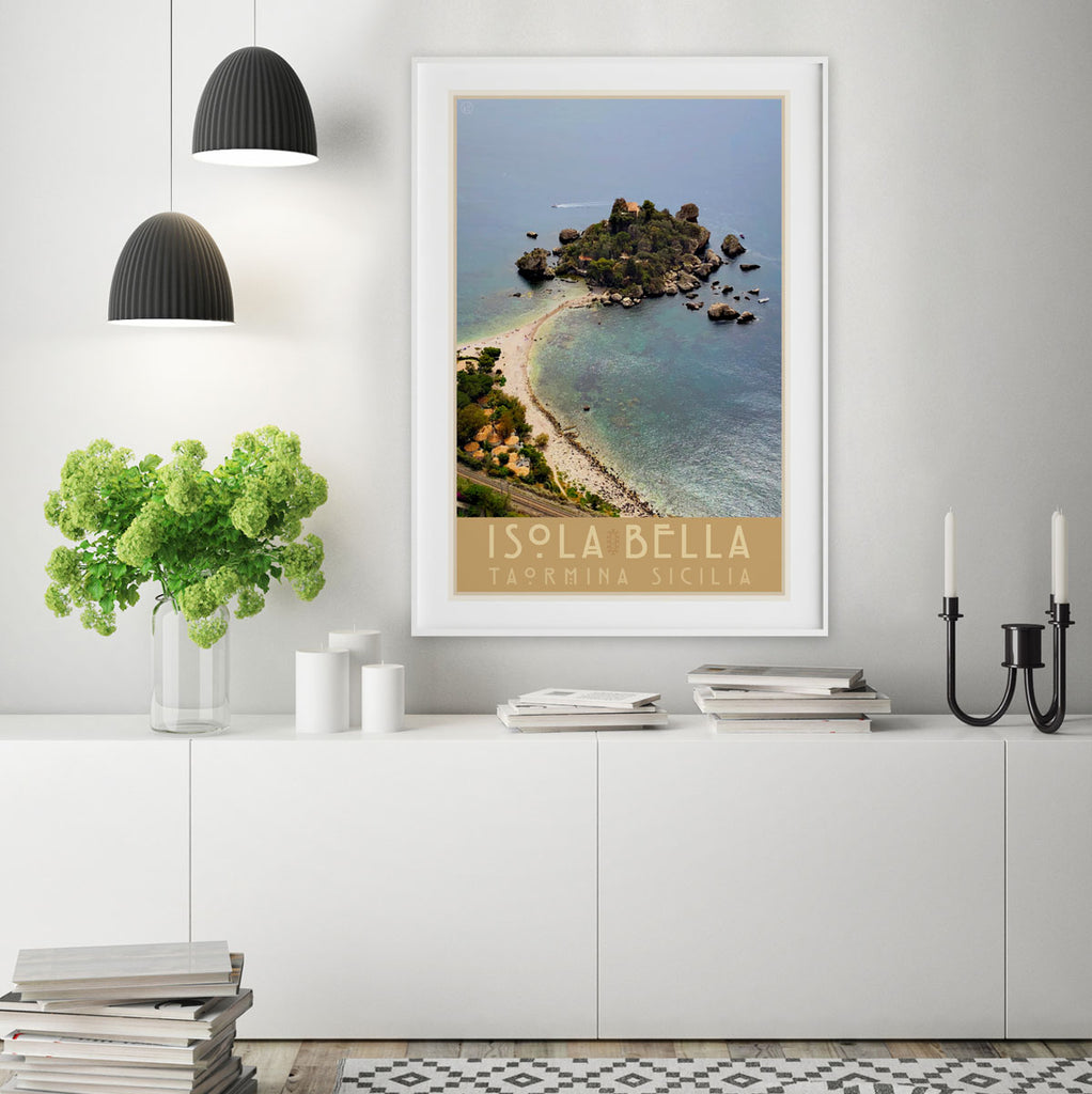 Taormina Sicily vintage travel style framed print by places we luv