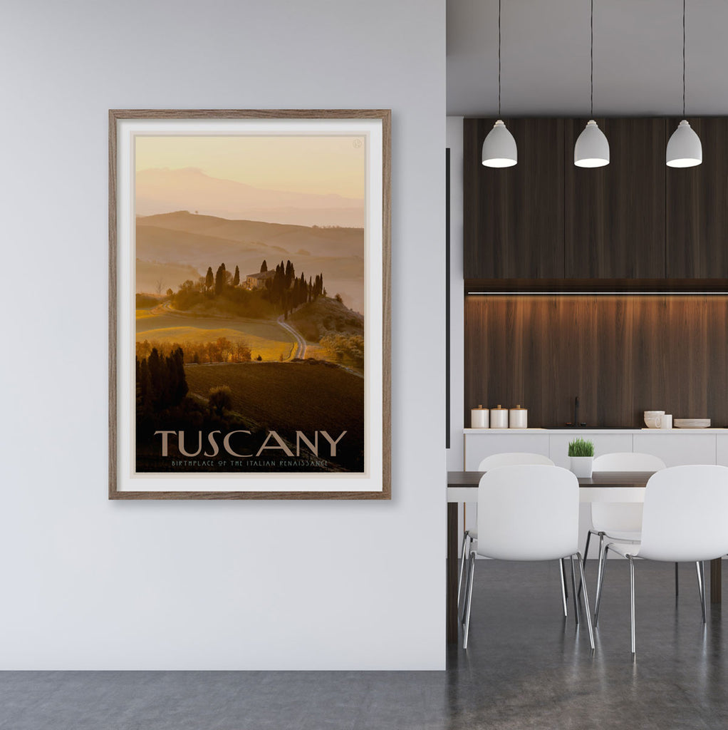 Tuscany framed vintage travel poster designed by Placesweluv