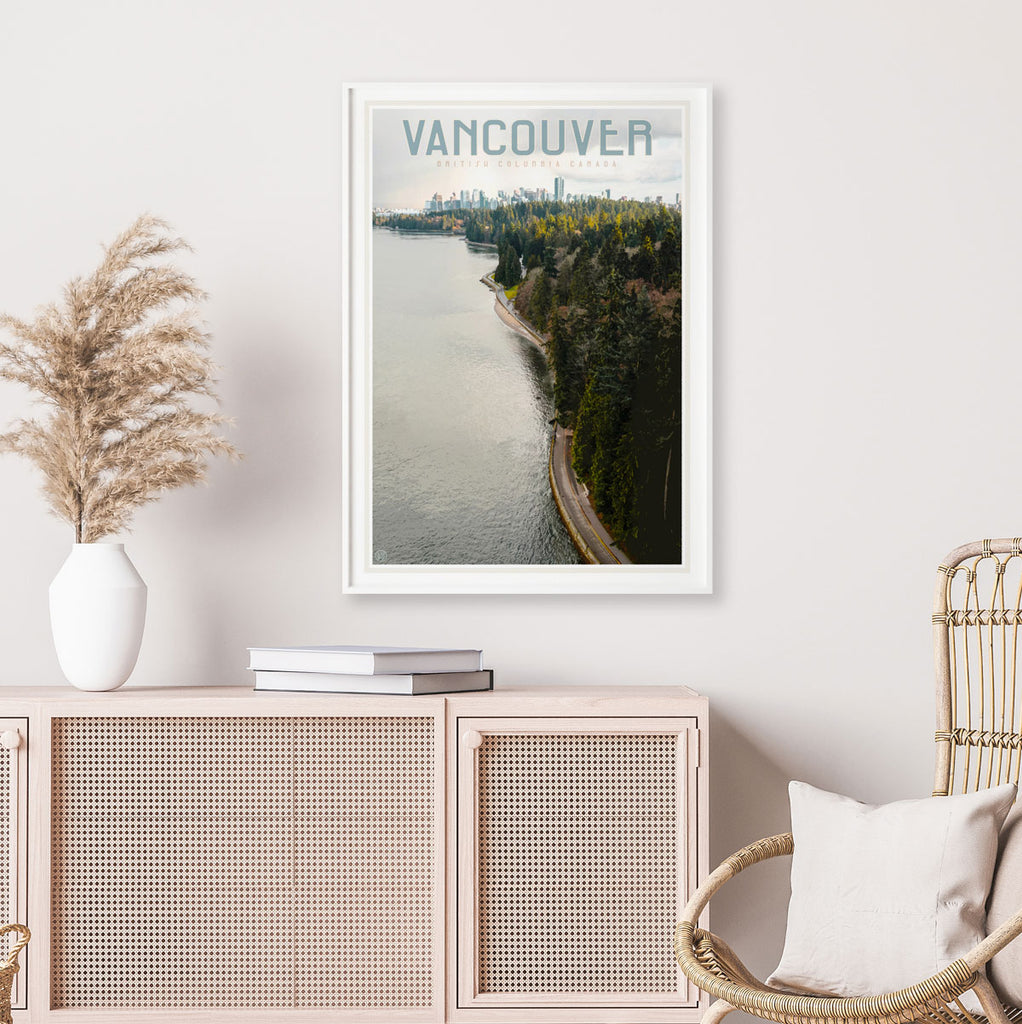 Vintage style travel framed print of Vancouver Canada by placesweluv