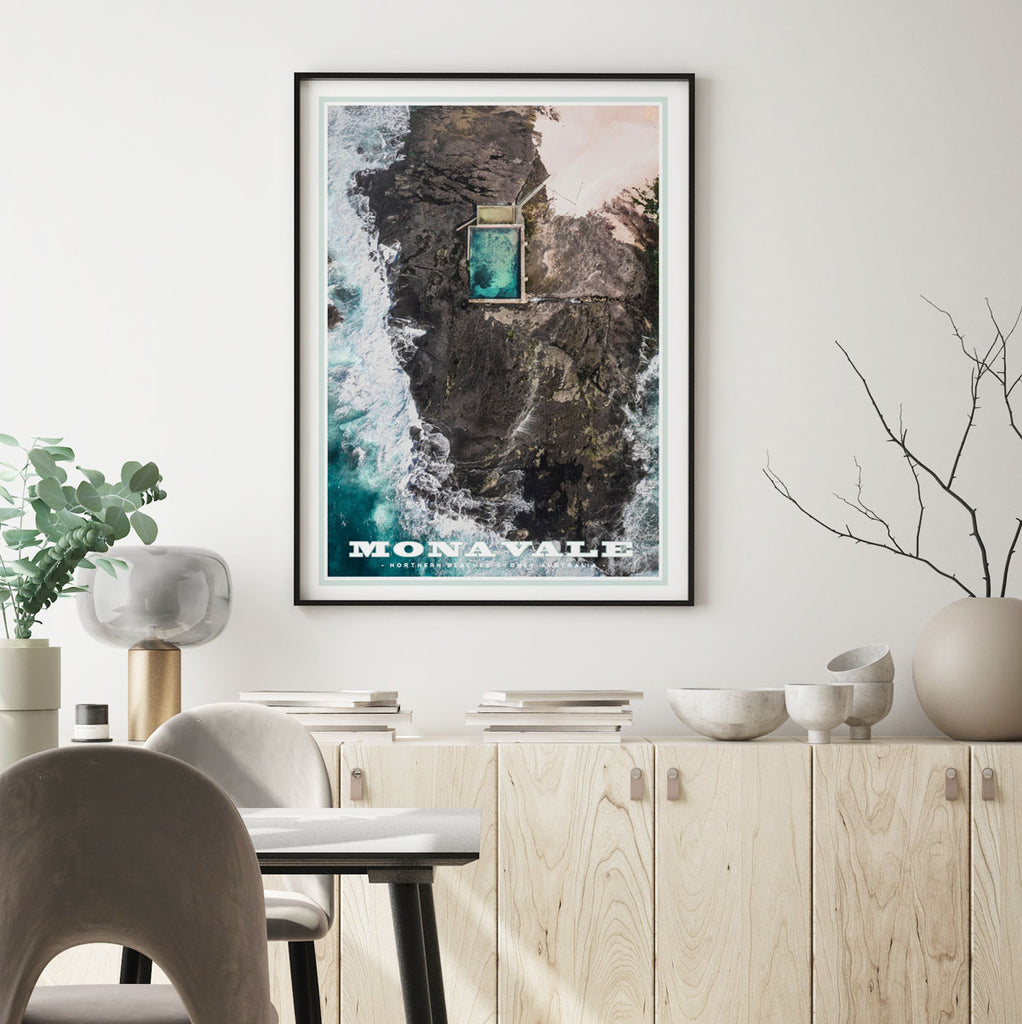 Mona Vale vintage travel style framed print by places we luv