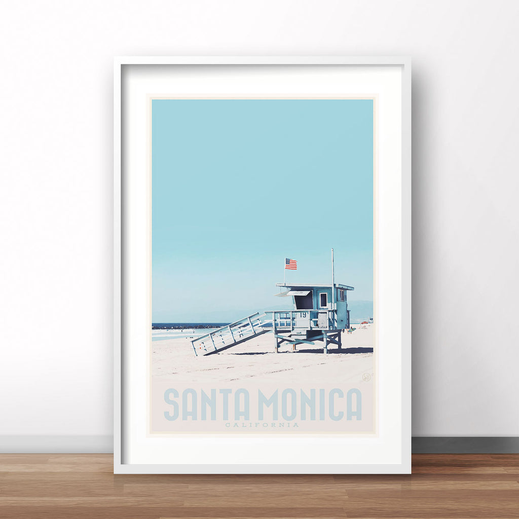 Santa Monica California vintage travel style framed print by Placesweluv