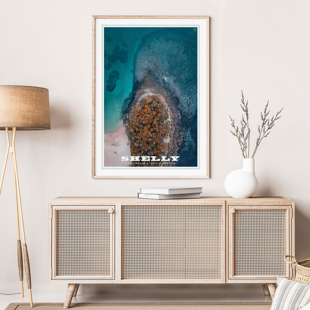 Shelly Beach headland vintage travel framed print by Places We Luv