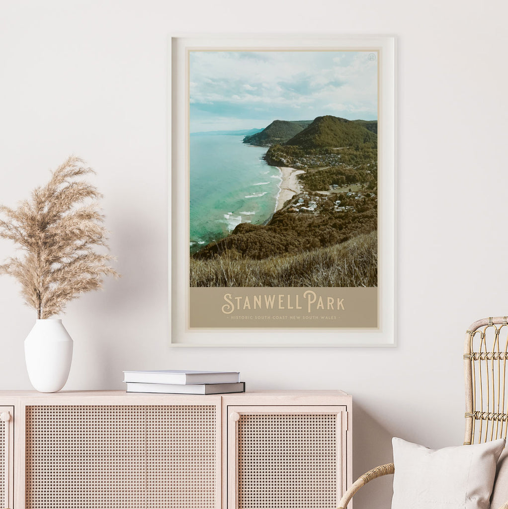 Stanwell Park vintage travel style framed print by Places We Luv