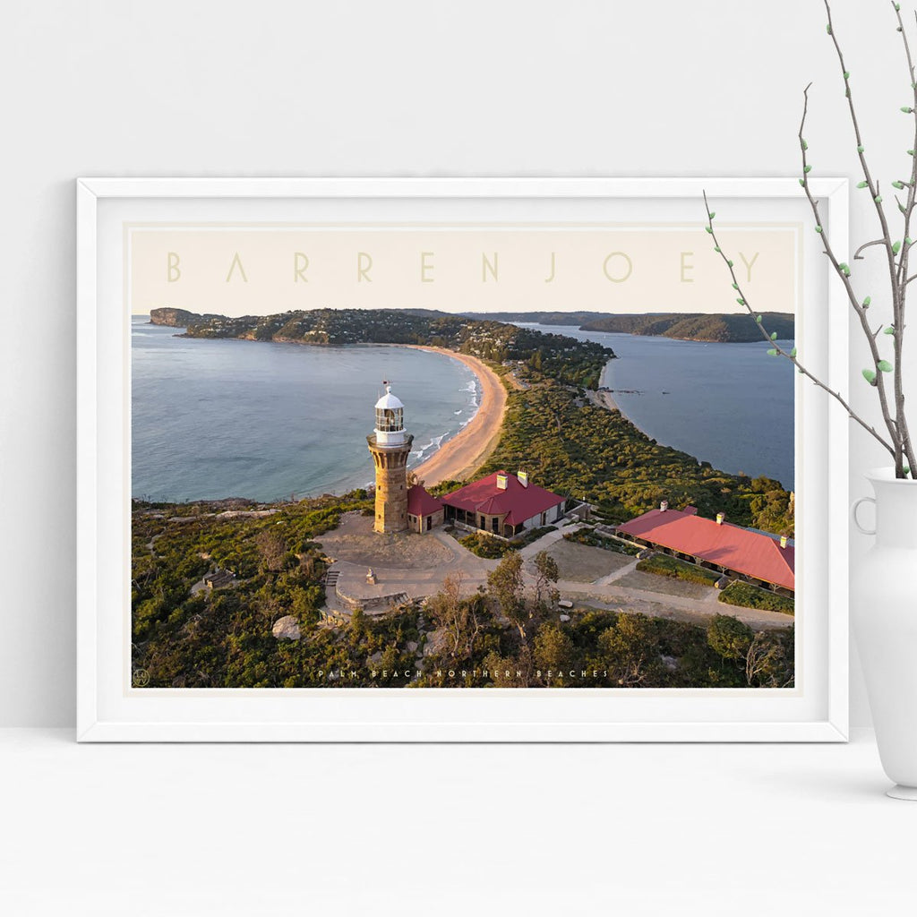 Barrenjoey lighthouse print, travel style poster original design by placesweluv