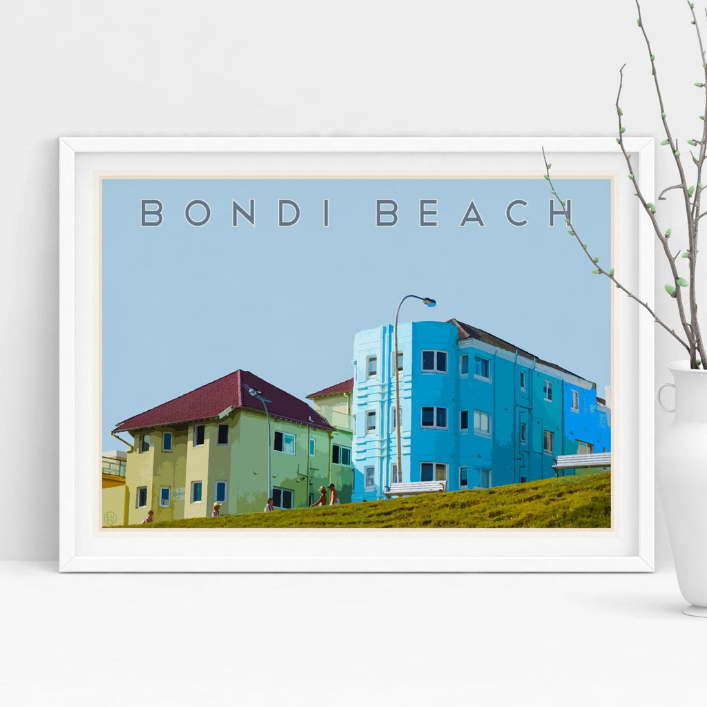 Bondi Beach Print vintage travel style - framed in white by Places We Luv